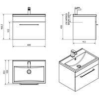 Jupiter Idon Black Ash Finish 600mm Built In Basin 1 Drawer Vanity Unit Wall Hung - ID60WH-BLK